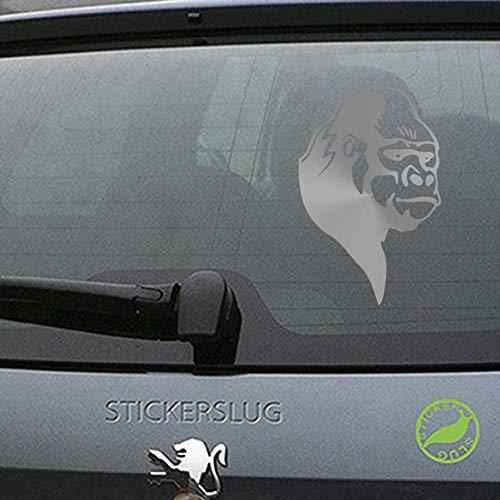 (Silverback Gorilla Decal Sticker (Metallic Silver, 8 inch) for ATV Cars b14837)