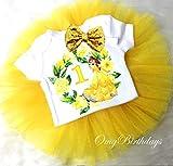 Birthday Tutu Outfit Yellow Belle Beauty Princess 3pcs Headband Romper
