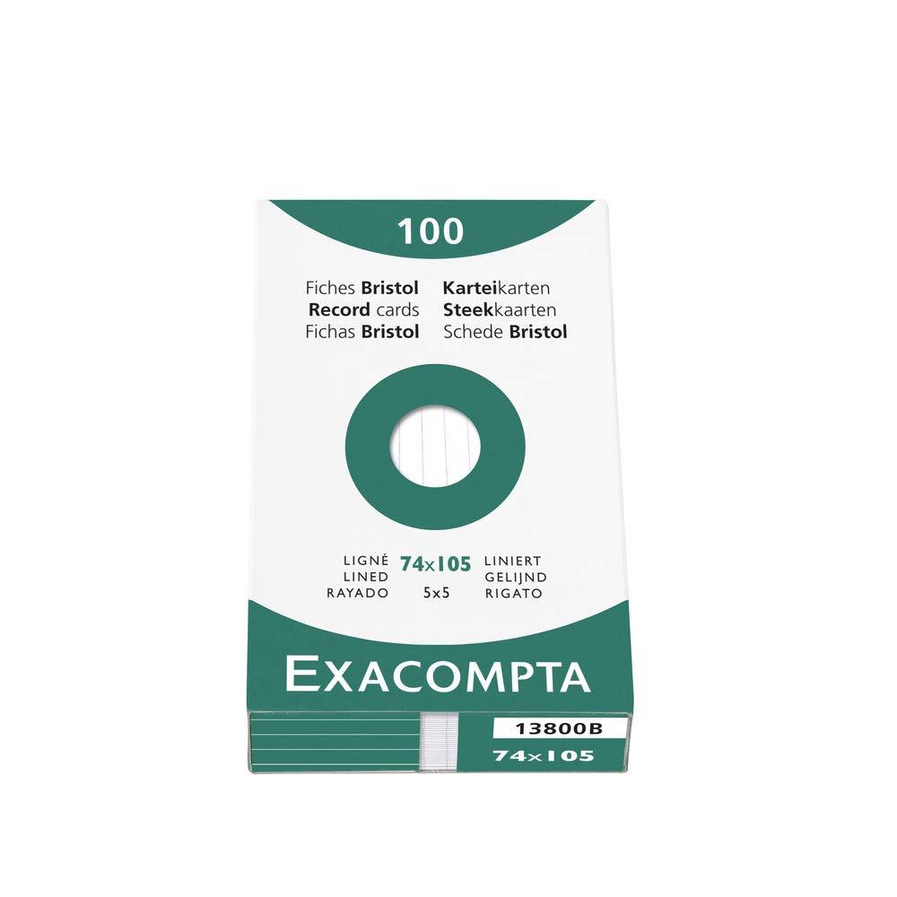 Exacompta 13800B Cartoncini Bristol, 7x10 cm, Bianco EXC13800