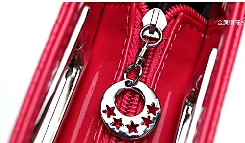 Crocodile Classic Leather Ilishop Faux Women's Metal Pattern Clutch Grip Red wqEqHxOnXZ