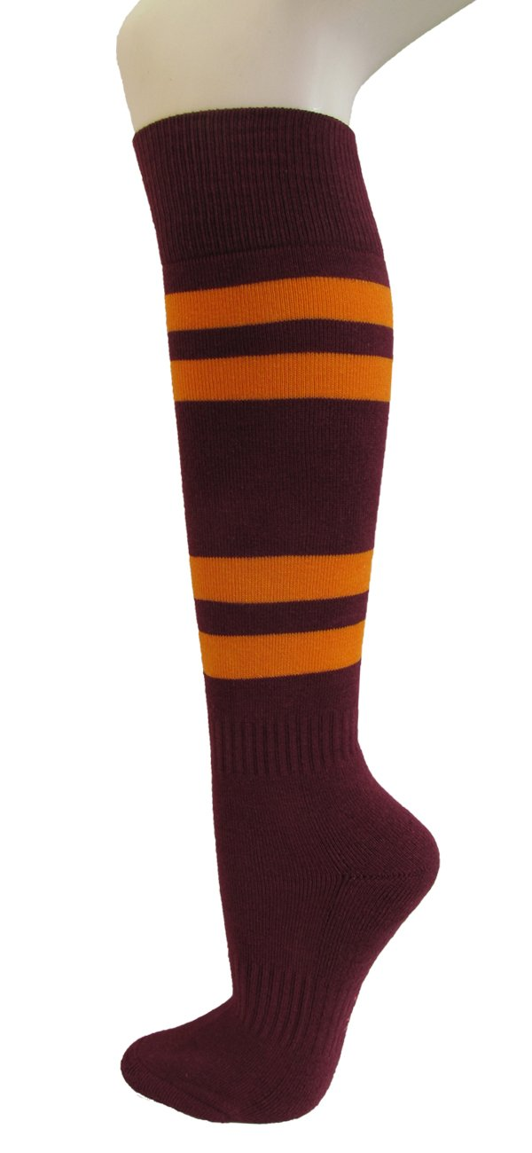 COUVER Maroon Softball//Sports Striped Knee High Athletic Socks 1 Pair