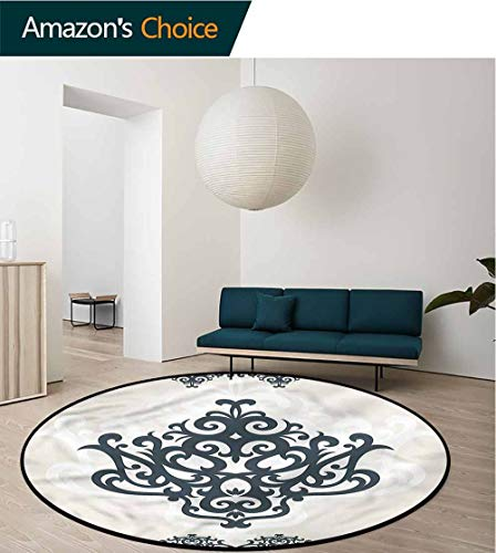 RUGSMAT Arabesque Washable Creative Modern Round Rug,Ornamental Eastern Motif Circle Rugs for Living Room Round-71 ()