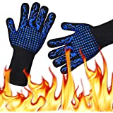 HoMii BBQ Gloves 1472℉ Extreme Heat Resistant, Oven Silicone Glove Kitchen Oven Mitts Grilling Glove for Cooking, Kitchen, Baking, Fireplace, Grilling, 1 Pair (13 Inch)