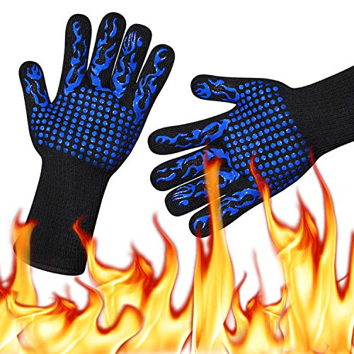 HoMii BBQ Gloves 1472℉ Extreme Heat Resistant, Oven Silicone Glove Kitchen Oven Mitts Grilling Glove for Cooking, Kitchen, Baking, Fireplace, Grilling, 1 Pair (13 Inch) (Kitchen Cooking Fireplaces For)