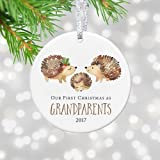 1st Christmas as Grandma Grandpa Ornament 2018, for Grandma, First Christmas Grandparents Keepsake - 3 inch Circle Ceramic Xmas Tree Ornaments