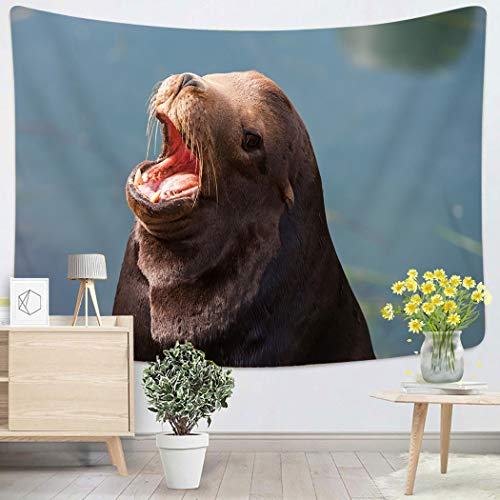 Houlor Tapestry Wall Hanging Brown Animal California Seals Commonly Called Sea Lions in Morro Bay USA Bark Art Chakra Polyester Home Decorations for Bedroom Dorm Decor 50 x 60 Inches