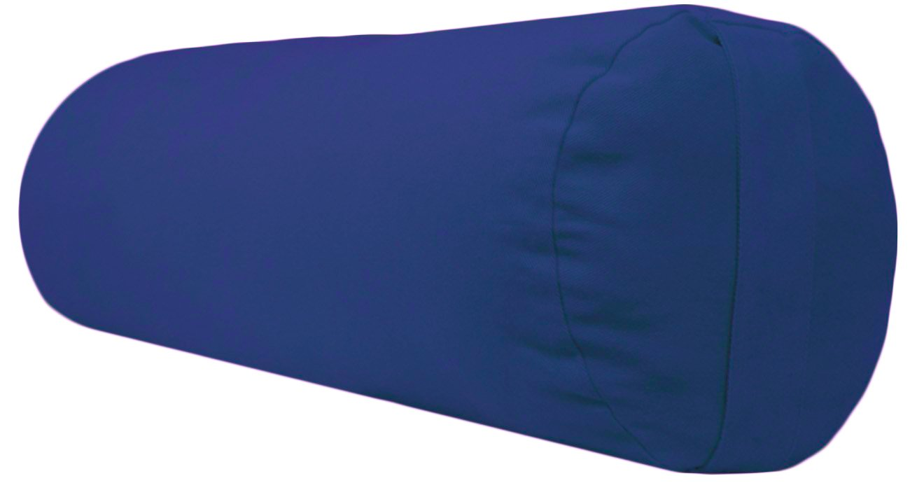 YogaAccessories Supportive Round Cotton Yoga Bolster (Bright Blue)