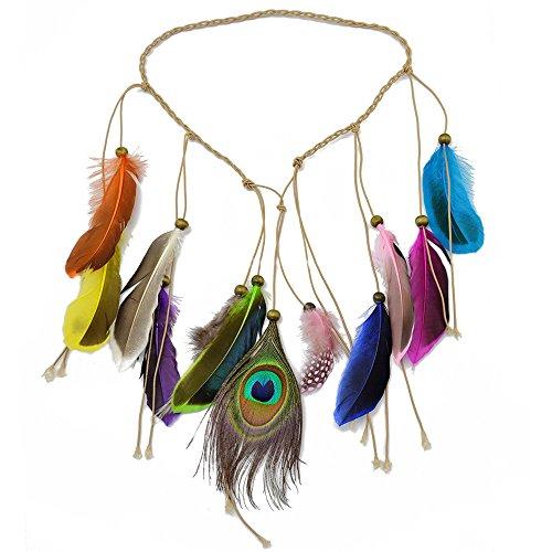 Women Feather Hair Accessories Peacock Feather Head Bands Hippie Headdress Bohemian Knitted Belt Beads Headband (F-0359-1-A)
