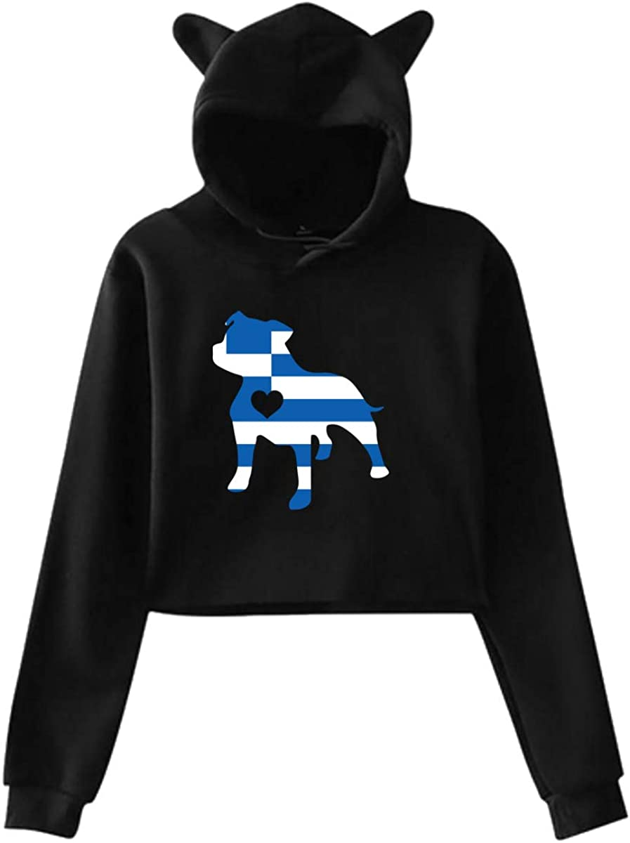 Womens Girls Cat Ear Pullover Hoodie Love Dog Greece Greek Flag Crop Top Sweatshirts Black