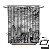 Black and White Shower Curtain Customized Skyline Rooftop View of New York in Cloudy Day Panoramic Bust Cityscape Bathroom Accessories W72 x L84 Black White