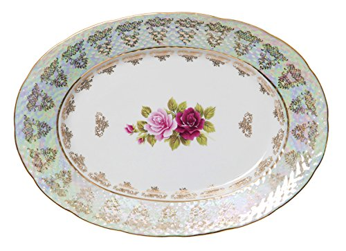 - Euro Porcelain Roses Serving Platter Fruit Plate, 24K Gold-Plated Vintage Floral Pattern Dinnerware for Cheese Cookies Muffins Brownies