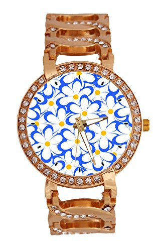 Field Of Cute Daisies Women's Wrist Watch Analog Quartz with Chain Bracelet Band Rose Gold Tone Stainless Steel Lady Dress Watch (Daisy Chain Dress)