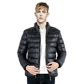 BoodTag Men Standing Collar Jacket Light Weight Puffer Coat Black AU L/TAG 2XL