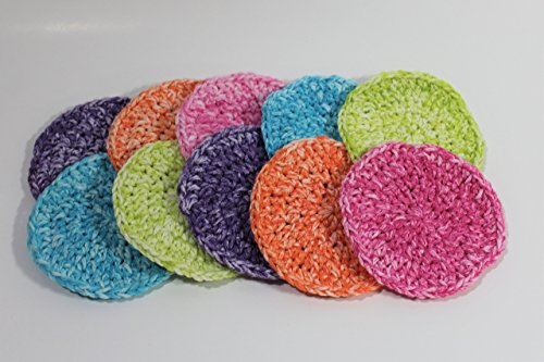 Handmade Crochet Makeup Remover Face Scrubbies (Set of 10) Pink, Purple, Blue, Orange and Green Polyester Face Yarn