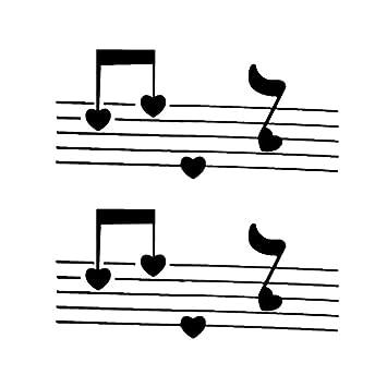 Tatuajes temporales con notas musicales de corazón para hombre y ...