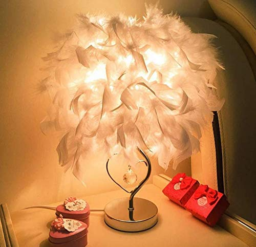 Pendant Light Industrial Design E27 Creative, Elegant and Fashionable Design Led Desk Lamp, with Feather Designed Lampshade & Heart Shape-Designed Body Lamp for Bedroom, Living Room, Decoration, Pink