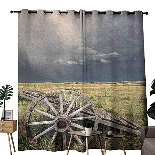 duommhome Barn Wood Wagon Wheel Kids Room Curtains Cloudy Day in Village Farm Aged Vintage Cart Outdoors 70%-80% Light Shading, 2 Panels,W84 x L108 Umber Green Dark Blue