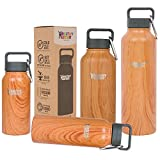 Healthy Human Stainless Steel Insulated Travel Sports Water Bottle Thermos - Leak Proof - No Sweating, Keeps Your Drink Hot & Cold - Natural Wood - 32 oz