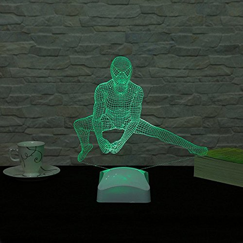 LaModaHome Hologram Table Lamp, 100% Plexiglass - Spider Man Stands on Nets, Size (10.2'' x 10.2''), 3D Illusion Minimalist Solid Bedside Table Lamp for Living Room, Bedroom, Kids Room
