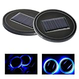 LED Cup Holder Lights,Alotm Pack of 2 Solar & USB Charger Cup Holder Mat Pad Waterproof Bottle Drinks Coaster Built-in Vibration Automatically Turn On at Dark Car Interior Decoration for Car, SUV, Tru