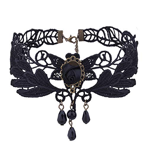 - Topgee Simple Hanging Beads Bib Necklace Women Jewelry Pendant Women Black Lace Necklace Collar Choker Vintage Gothic Chain Pendant