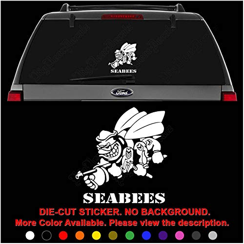 US Navy Seabees Die Cut Vinyl Decal Sticker for Car Truck Motorcycle Vehicle Window Bumper Wall Decor Laptop Helmet Size- [8 inch] / [20 cm] Tall || Color- Gloss Black (Sea Die Cut Stickers)