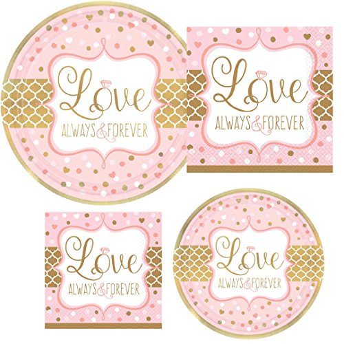 Always Shower (Love Always & Forever Bridal Shower Wedding Party Supply Pack! Bundle Includes Paper Plates & Napkins for 8 Guests)