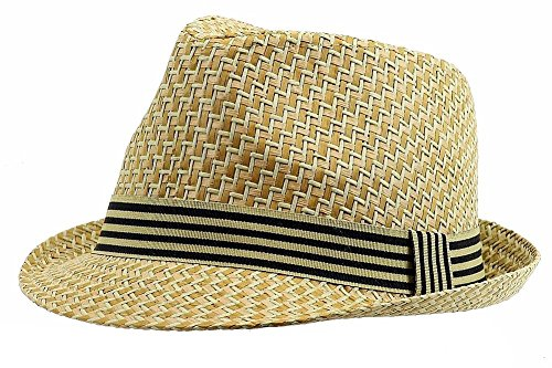 Henschel Men's Straw Fedora with Striped Band, Beige, Large