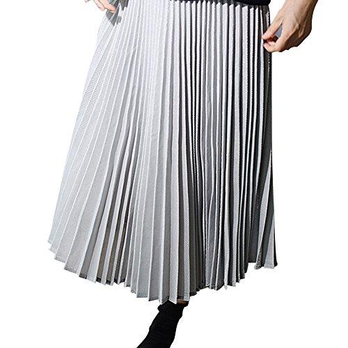 hibote Mujeres plisado de la falda Gris