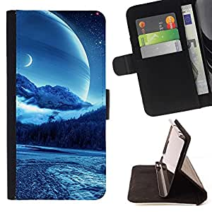 DEVIL CASE - FOR Sony Xperia Z2 D6502 - Sci Fi Moon Planet - Style PU Leather Case Wallet Flip Stand Flap Closure Cover