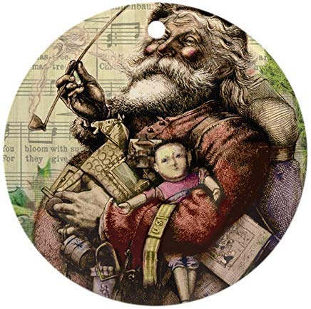 (Voicpobo Merry Santa Claus and The Christmas Tree Round ORN Novelty Round Ceramic Christmas Ornaments Christmas Tree Decorative 3 inches)