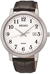 Seiko Mens Quartz Large White Easy Read Dial Black Leather Calfskin Band SUR113