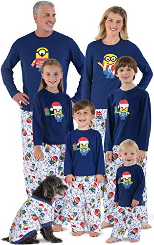 PajamaGram Fun Holiday Pajamas Family - Fleece Minion Pajamas, Blue, Men's, XL