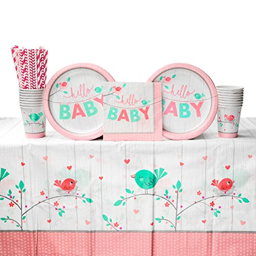 A Little Birdie Girl Baby Shower Party Supplies Pack for 16 Guests |Straws, 16 Dinner Plates, 16 Luncheon Napkins, 16 Paper Cups, and 1 Table Cover| Perfect Baby Shower Decorations -