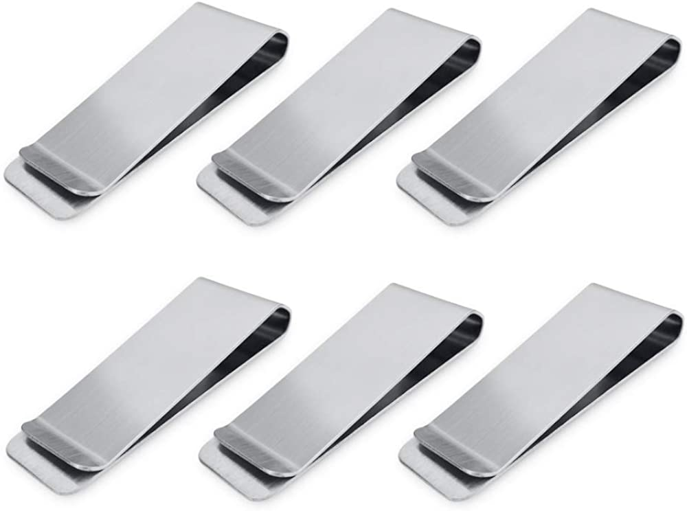 Cozihom Stainless Steel Money Clips, Money & Cards Holder, Minimalism Wallet, Super Slim and Durable - Silver, 6 PCS, Sliver, 2.60*0.83*0.31 inches