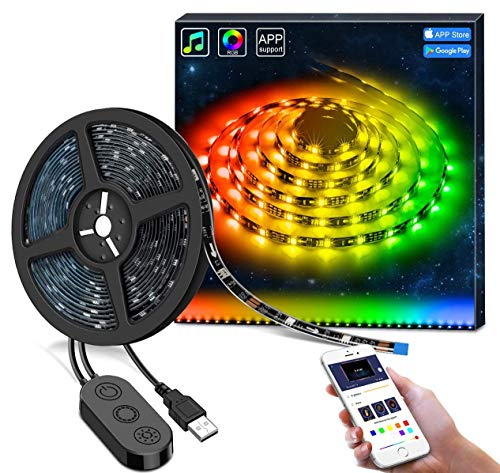 DreamColor LED Strip Lights with APP, Minger 6.6FT/2M USB Light Strip Built-in Digital IC, 5050 RGB Strip Lights, Color Changing with Music Waterproof Led Strip Lights Kit, LED TV Backlight Strip