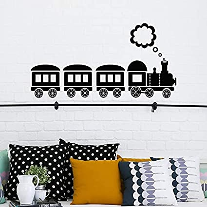 Handaxian Dessin Anime Train Locomotive Vinyle Autocollants Pour Chambre D Enfants Mignon Train Modele Amovible Decal Nursery Chambre Decor 42 82 Cm Amazon Fr Cuisine Maison