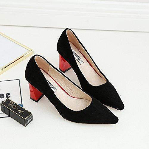 scarpe pelle suede Xue da nere a Qiqi da donna alto con in punta Scarpe 39 scamosciata donna Scarpette con abbinate tacco a scarpe q6pxPn7q8