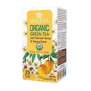 HYLEYS Tea Organic Green Tea with Manuka Honey & Mango Flavor - 25 Tea Bags (100% Natural, Sugar Free, Gluten Free and Non-GMO), 1.32 Ounce (Pack of 1)