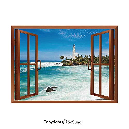 Lighthouse Decor Removable Wall Sticker/Wall Mural,Tropical Island Lighthouse with Palm Trees Rocks Wavy Seaside Beach Ocean Creative Open Window design Wall Decor,24