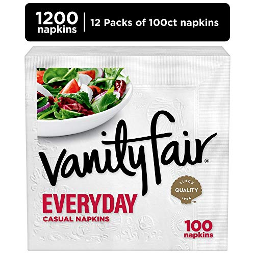 Vanity Fair Everyday White Paper Napkins, 1200 Count (Pacific Luncheon Napkins)