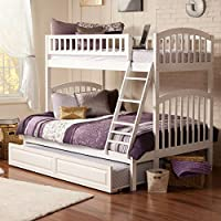 Richland Bunk Bed with Raised Panel Trundle Bed, White, Twin/Full