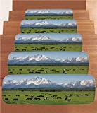 iPrint Non-Slip Carpets Stair Treads,Horse Decor,Grand Teton National Park Snowy Mountains Fresh Greenery Trees Animals Decorative,Green Light Blue,(Set of 5) 8.6''x27.5''