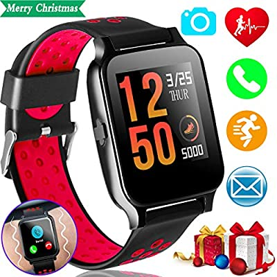 """Fitness Tracker Smart Watch Phone with Heart Rate Blood Pressure Monitor for Kids Women Man Activity Tracker 1.55"""" IPS Color Screen Pedometer"""