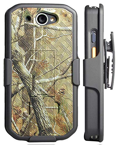 (CAT S48c Case with Clip, Nakedcellphone [Outdoor Camouflage] Tree Leaf Real Woods Camo Kickstand Cover with [Rotating/Ratchet] Belt Hip Holster Combo for Caterpillar CAT S48c Phone)