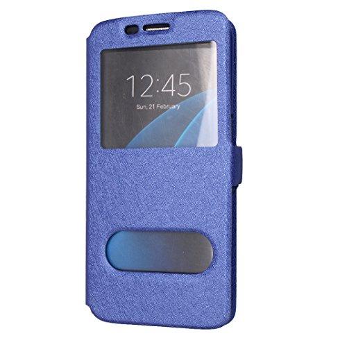 Funda Samsung Galaxy S7Edge/G935 Carcasa Libro 5.1 Pulgadas Suave PU Leather PC Funda Interna Flip Wallet Case con 2 Vista de Ventana Ranuras para Tarjetas Soporte Plegable para Samsung Galaxy S7Edge/ Azul oscuro