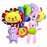 TOYMYTOY Baby Infant Crib Toys,Spiral Activity Plush Toy Stroller Toys (Lion)