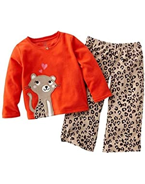 Carters Infant & Toddler Girl 2 Piece Set Fleece Cheetah Print Pants Red Top