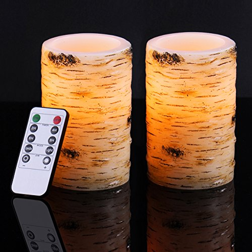 Bingolife Real Wax Birch Bark Effect Flameless LED Candles 3.25