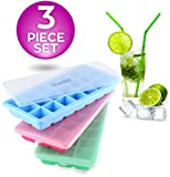Image of Ice Cube Trays With Lids Silicone Bpa Free Ice Molds Containers Set Of 3 A Easy Release Rubber Ice Molding Trays In Blue, Green&Rose Red-Make 63 Ice Cubes For Cold Drinks, Cocktails&Juices:By Clasier